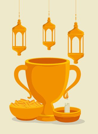 chalice with lamps hanging and gold coins with candle to eid al adha, vector illustration Stock Illustratie