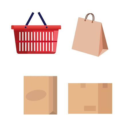basket and bag shopping with boxes carton vector illustration design