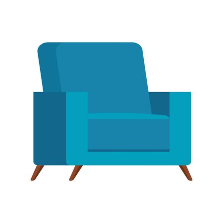 comfortable couch blue color isolated icon vector illustration design