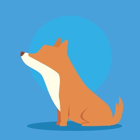 cute dog animal in blue background vector illustration design 向量圖像