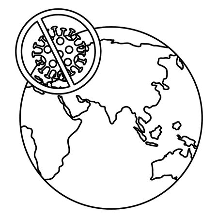 particle of covid 19 with world planet and forbidden sign vector illustration design