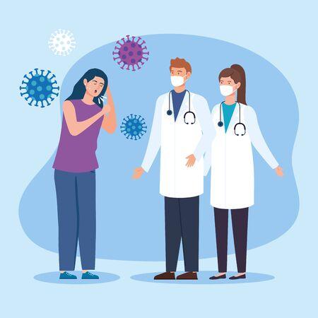 couple doctors with woman sick of coronavirus 2019 vector illustration design
