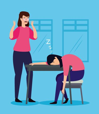 women with stress attack in workplace vector illustration design