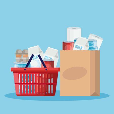 basket and bag paper with groceries vector illustration design