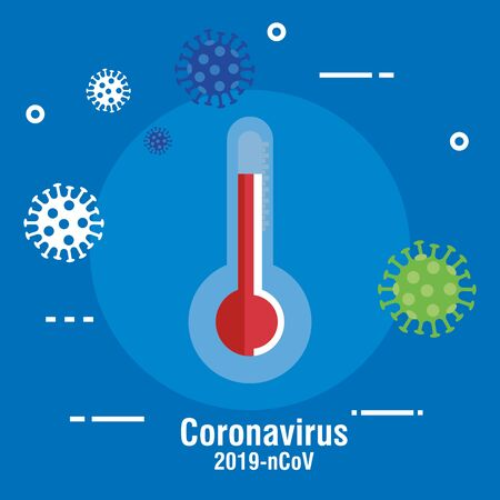 thermometer with set icons of covid 19 vector illustration design Vectores