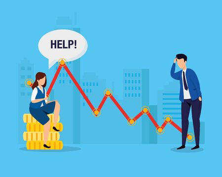 stock market crash with business people worried vector illustration design