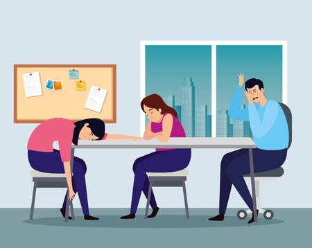 people with stress attack in workplace vector illustration design