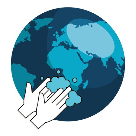 world planet with cleaning hands washing vector illustration design