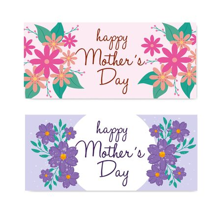 set of happy mother day cards with flowers and leafs decoration vector illustration design
