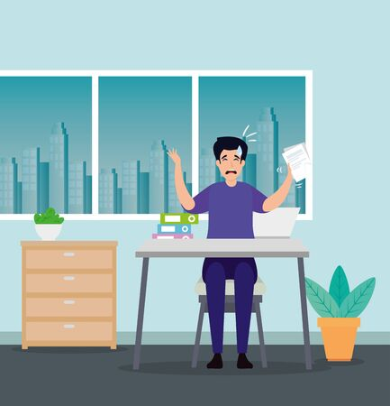 man with stress attack in workplace vector illustration design