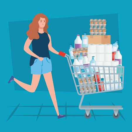woman buying in overstocking by covid 19 vector illustration design Vettoriali