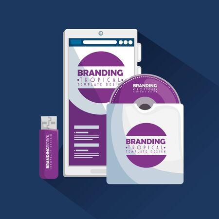 smartphone with branding cd inside envelope and usb memory vector illustration