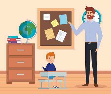 man teacher in the classroom with boy and books to academic education vector illustration