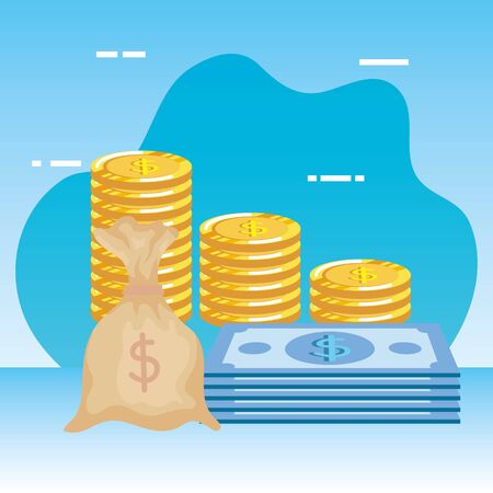 coins money dollars with bills and bag vector illustration design