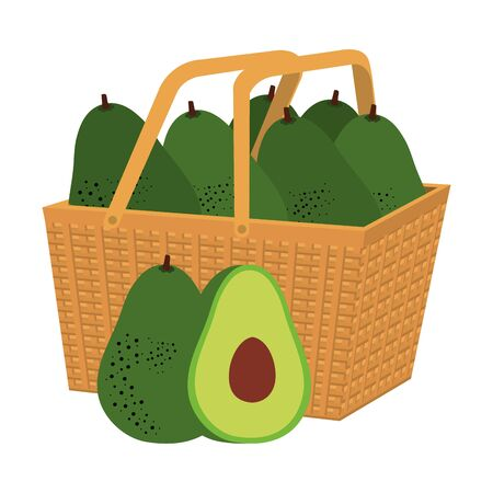 fresh avocados vegetables in basket straw vector illustration design Ilustração