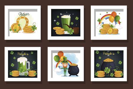 bundle of st patricks day with icons vector illustration design Ilustracja