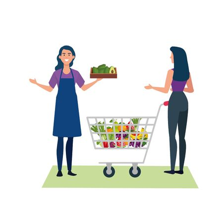 seller woman and client design, shop store market shopping commerce retail buy and paying theme Vector illustration 向量圖像