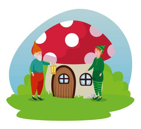 fungus house with man gnome and boy elf to tale character, vector illustration