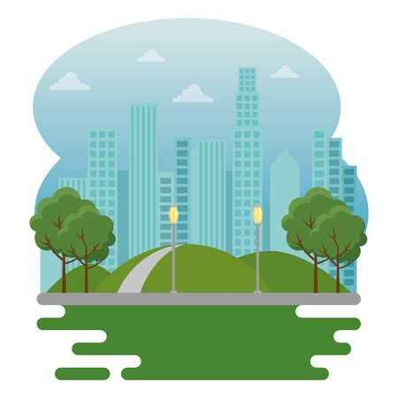 park with trees and mountains with building cityscape to urban cityscape vector illustration