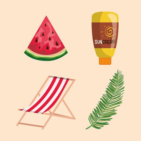 set of watermelon fruit with suncream and tanning chair with leaf to summer time vector illustration