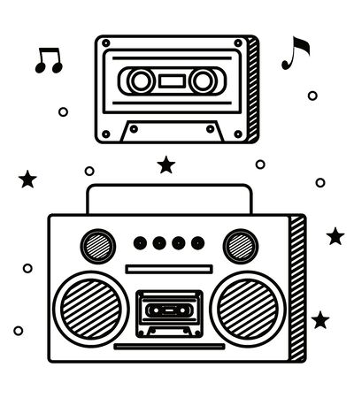 radio and cassette with quaver and beam notes to music melody vector illustration