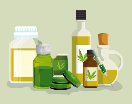 cannabis oil in the crystal bottles with medicine ointment and syring vector illustration