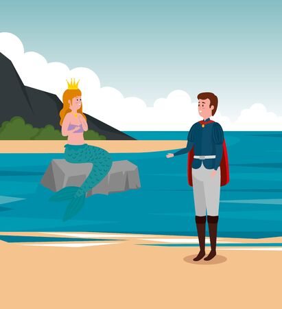 boy prince and girl mermaid in the stone with crown to tale character, vector illustration