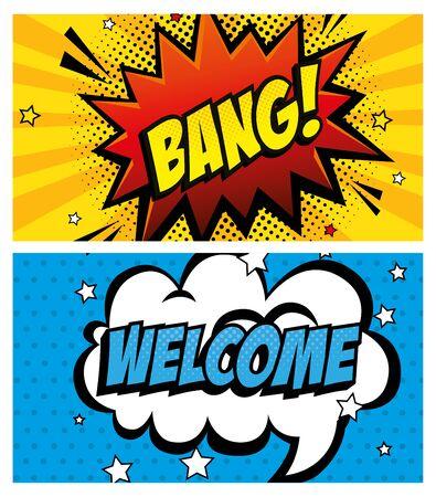 set of expressions pop art style icon vector illustration design Ilustração