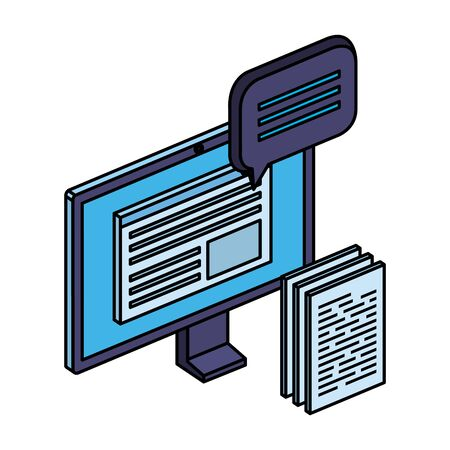 computer with paper document files and speech bubble vector illustration design