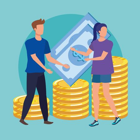 young couple with coins money avatars characters vector illustration design