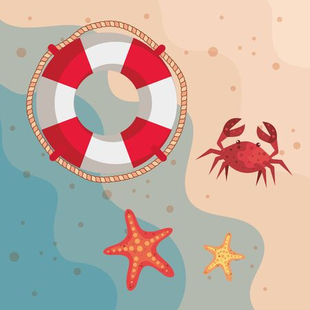 float with crab and starfishes in the beach sand to summer time vector illustration