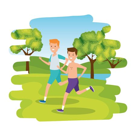 happy athletic boys running in the camp vector illustration design