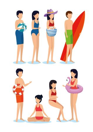 set of women and men wearing swimsuit with ball and surfboard to summer time vector illustration