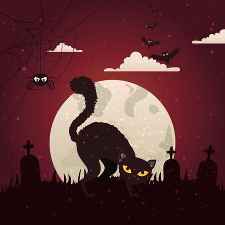 halloween cat with cemetery in dark night vector illustration design