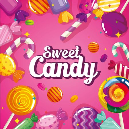 poster of sweet candy with caramels vector illustration design Imagens - 143121631