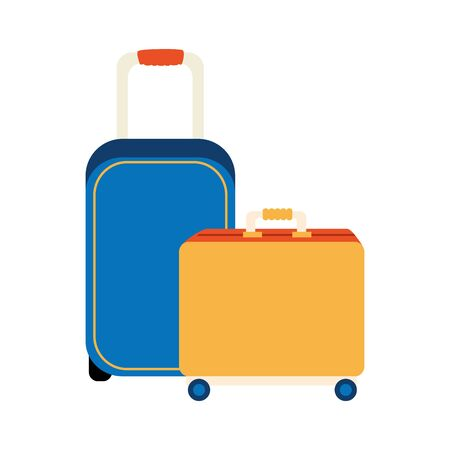 set of wheeled suitcases isolated icons vector illustration design