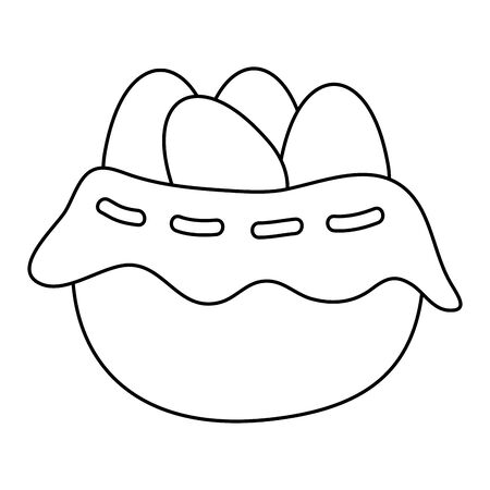 eggs easter in basket wicker vector illustration design