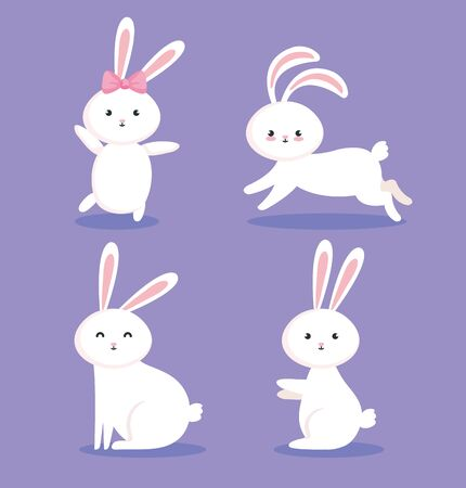 group of cute rabbits icons vector illustration design