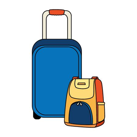 wheeled suitcase with backpack isolated icon vector illustration design Ilustração