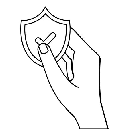 hand holding shield with check mark design of Security system warning protection danger web alert and safe theme Vector illustration