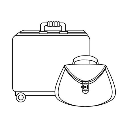wheeled suitcase with women bag isolated icon vector illustration design Ilustração
