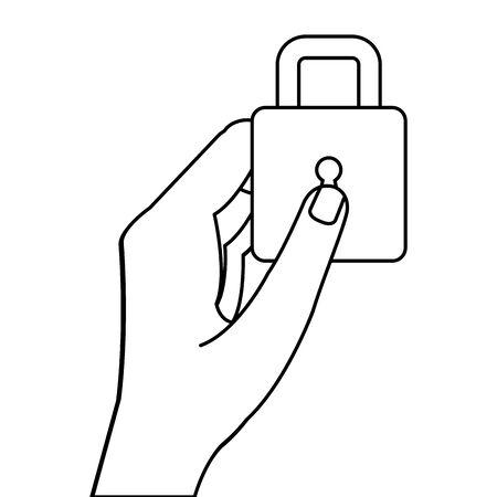 hand holding padlock design of Security system warning protection danger web alert and safe theme Vector illustration
