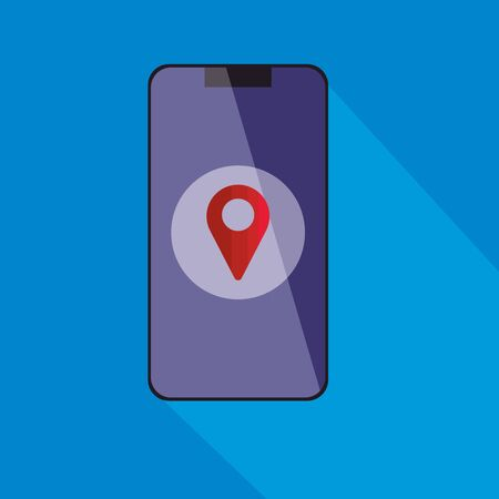 smartphone device with pin location vector illustration designs  イラスト・ベクター素材