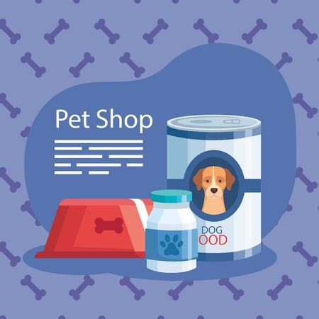 pet shop with food dog can and icons vector illustration design