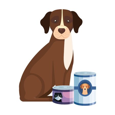 cute dog with food for animals in can isolated icons vector illustration design 向量圖像