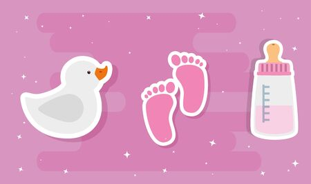 set of cute baby toys vector illustration design Illustration