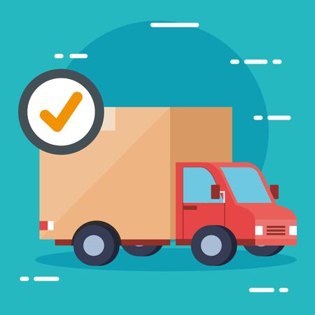 truck and check mark design, Delivery logistics transportation shipping service warehouse industry and global theme Vector illustration 向量圖像