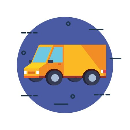 yellow truck design, Delivery logistics transportation shipping service warehouse industry and global theme Vector illustration
