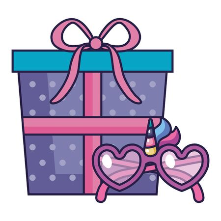 cute eyeglasses and unicorn decoration with gift box vector illustration design 向量圖像