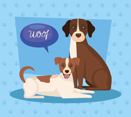 group of dogs brown and white in background with pawprints vector illustration design